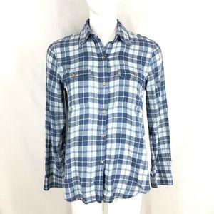 Chaps Denim thin flannel boyfriend shirt medium